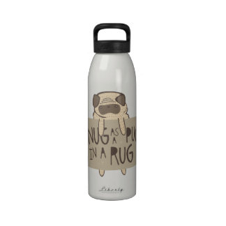 Snug as a Pug in a Rug Water Bottle