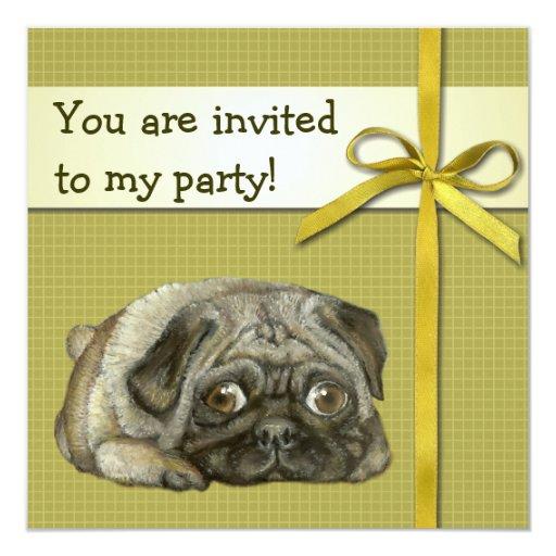 Snug pug 5.25x5.25 square paper invitation card