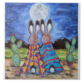 """Snuggle Bunnies"" 6"" tile/trivet; romantic rabbits Tile"