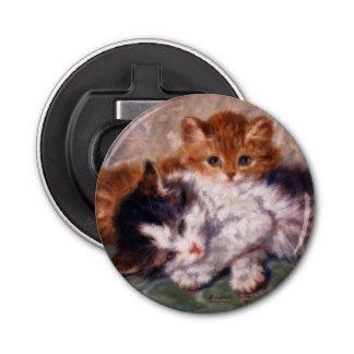 Snuggle de dos gatitos de Henriëtte Ronner-Knip Abrebotellas Redondo