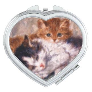 Snuggle de dos gatitos de Henriëtte Ronner-Knip Espejo Compacto
