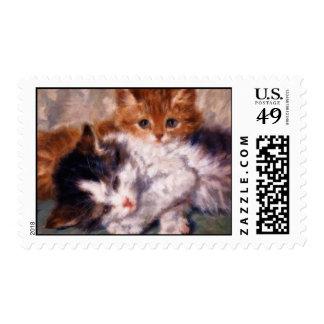 Snuggle de dos gatitos de Henriëtte Ronner-Knip Estampillas