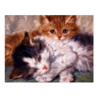Snuggle de dos gatitos de Henriëtte Ronner-Knip Postal