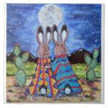 """""""Snuggle los conejitos"""" 6"""" teja/trivet; conejos ro"""