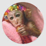 Snuggle Monkey Round Sticker
