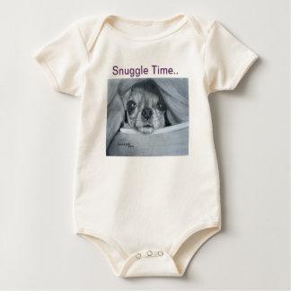 Snuggle Time -l Chihuahua artwork by Carol Zeock Rompers