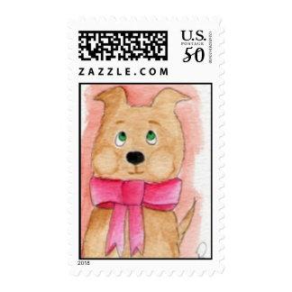 Snuggles Dog Postage Stamp