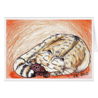 Snuggles soñolientos del gatito gordo tarjeta de felicitación