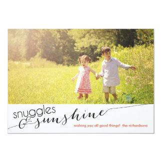 Snuggles & Sunshine with Back Photo 5x7 Paper Invitation Card
