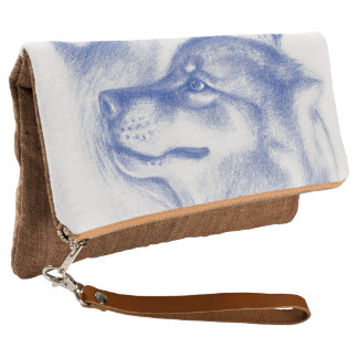 Snuggling Alpha Wolves Blue Clutch