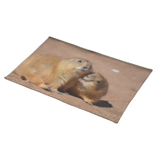 Snuggling Prairie Dogs Cloth Placemat