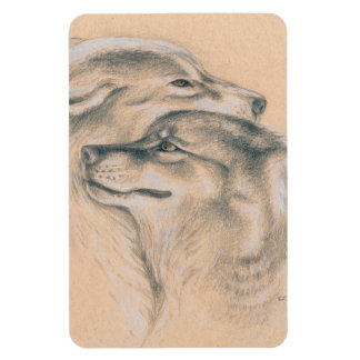 Snuggling Wolves Drawing Art Magnet