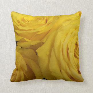 Snuggling Yellow Roses Throw Pillow