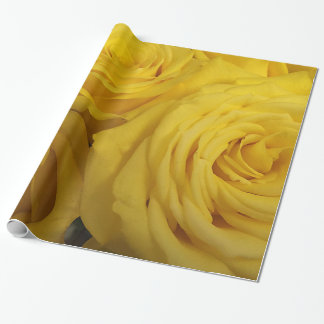 Snuggling Yellow Roses Wrapping Paper