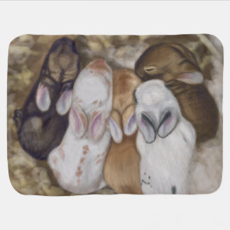 Snuggly Baby Bunnies Swaddle Blanket
