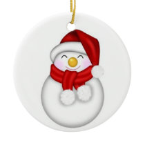 Snuggly Cute Snowman Ceramic Ornament