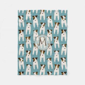 Snuggly Jack Russell Terriers pattern monogrammed Fleece Blanket