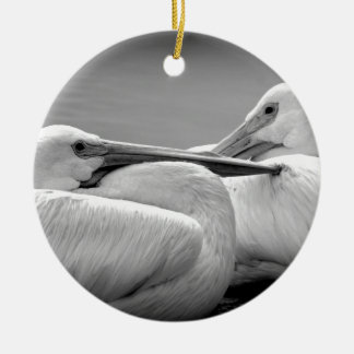 Snuggly Pelicans 2 Ceramic Ornament