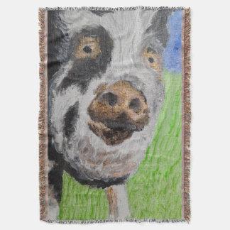 SNUGGLY PIGGY PORTRAIT BLANKIE THROW BLANKET