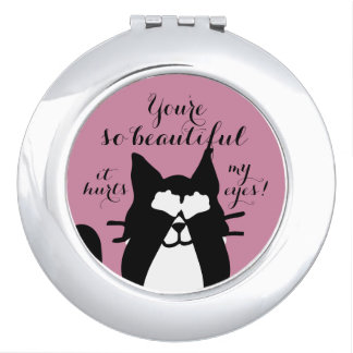 So Beautiful Hurts Eyes! Kitty Cat Covering Eyes Makeup Mirror