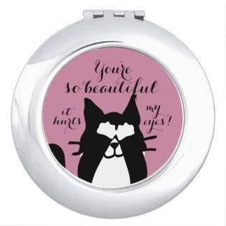 So Beautiful Hurts Eyes! Kitty Cat Covering Eyes Makeup Mirror