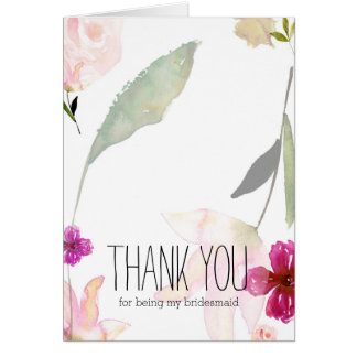 So Beautiful Watercolor Floral Thank you Card