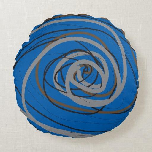 SO BLUE SPIRAL Round Throw Pillow Zazzle