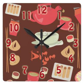 So Cute and Dim Sum! Square Wall Clock