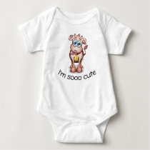 So Cute - Baby Cow With Cowbell Baby Bodysuit