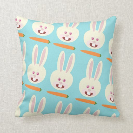 So Cute Bunnies and Carrot Pattern Pillows