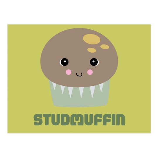 so cute kawaii stud muffin postcard