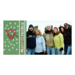 So Cute Merry Christmas Red Pine White Snowflakes Photo Card