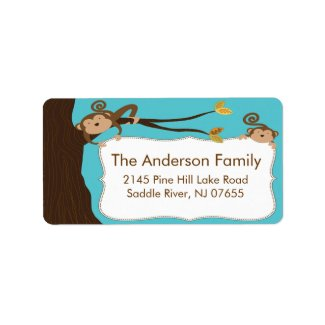 So Cute Monkey Frame Address Label label