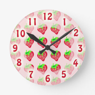 So Cute Strawberry Time Round Clock