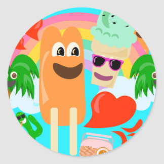 So Cute Summer Love! Classic Round Sticker