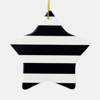 So Elegant Classic Chic BLACK & WHITE STRIPES Ceramic Ornament