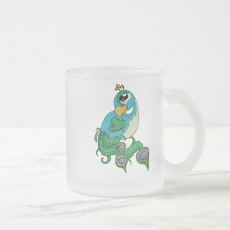So Fancy! Peacock Frosted Glass Coffee Mug