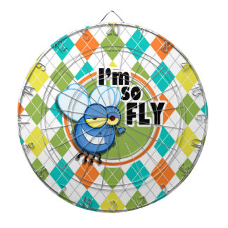So Fly!  Colorful Argyle Pattern Dartboard With Darts