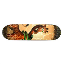 So funny, cute giraffe skateboard
