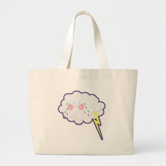 So Funny Emo Kawaii Lightning Cloud Large Tote Bag