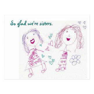 So glad we're sisters, Postcard