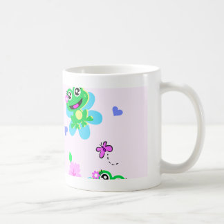 so happy frogs print coffee mug