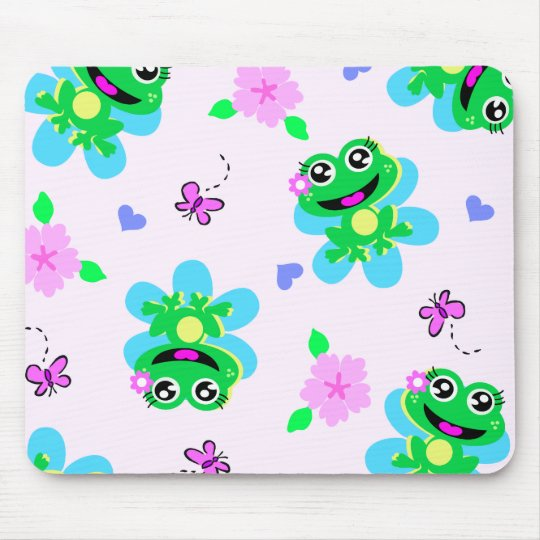 so happy frogs print mouse pad