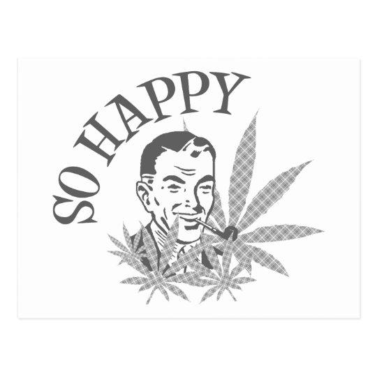 So Happy Retro Guy W/ Pot Leaves & Pipe Grey Postcard