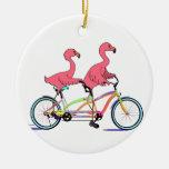 So Happy Together Tandem Flamingos Ceramic Ornament