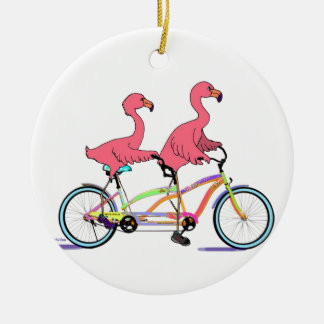 So Happy Together Tandem Flamingos Double-Sided Ceramic Round Christmas Ornament