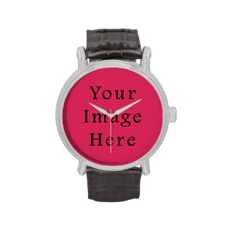 So Hot Pink Color Trend Blank Template Wrist Watches