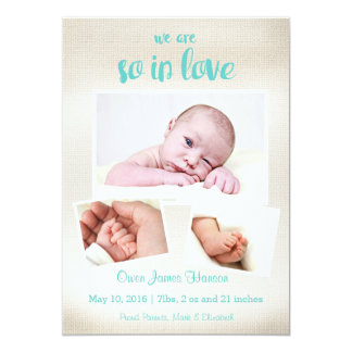 So In Love Baby Boy Birth Announcement