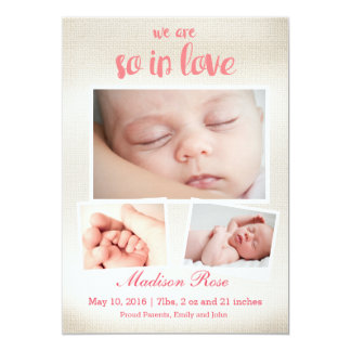 So in love Baby girl Birth announcement
