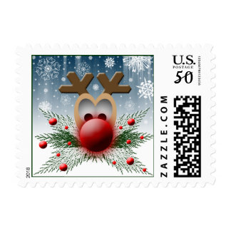 So It Glows Holiday Christmas Xmas Cute Reindeer Postage